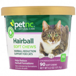 petnc NATURAL CARE Hairball Soft Chews All Cat Chicken & Cheese Flavor 90 Soft Chews
