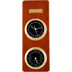 Del Milan 2 in 1 Wall clock and Tide clock - Teak Finish