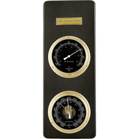 Del Milan 2 in 1 Barometer and Thermometer - Carbon Fibre finish