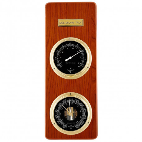 Del Milan 2 in 1 Barometer and Thermometer - Teak finish
