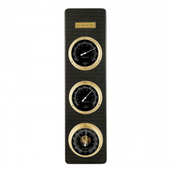Del Milan 3 in 1 Weather station Barometer, Thermometer and Hygrometer- Carbon Fibre