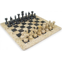 "Chess Set, Onyx, 16"" Fossil / Black"