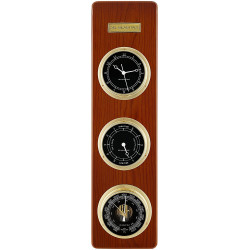 Del Milan 3 in 1 Fisherman station Clock, Tide Clock and Barometer- Teak