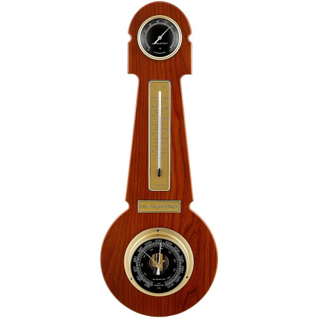 Del Milan 3 in 1 Round Weather station Barometer, Thermometer and Hygrometer- Teak