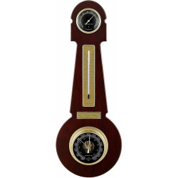 Del Milan 3 in 1 Round Weather station Barometer, Thermometer and Hygrometer- Carbon Fibre