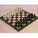 Marble Green Edge Chess Set with Black & White Pieces 16 Inch