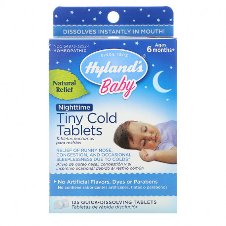 Hyland's, Baby, Nighttime Tiny Cold Tablets, Ages 6 months+, 125 Quick-Dissolving Tablets