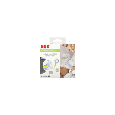 NUK, Simply Natural, Bottles, 0+ Months, Slow, 2 Pack, 5 oz (150 ml) Each