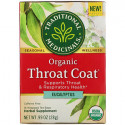 Traditional Medicinals, Organic Throat Coat, Eucalyptus, Caffeine Free, 16 Wrapped Tea Bags, .99 oz (28 g)