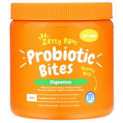 Zesty Paws Probiotic Bites for Dogs Digestion All Ages Pumpkin Flavor 90 Soft Chews