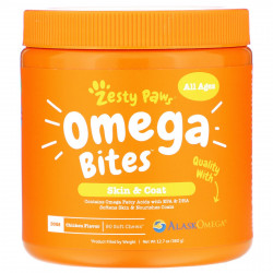 Zesty Paws Omega Bites for Dogs Skin & Coat All Ages Chicken Flavor 90 Soft Chews