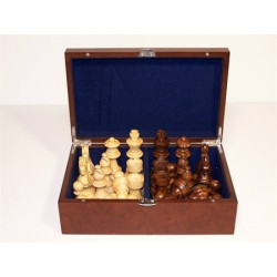 """Dal Rossi Italy Chess Pieces - French lardy, Boxwood and Sheesham wood 85mm """"Double Weighted"""" plus Storage Box"""