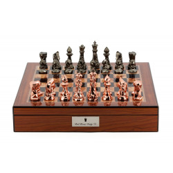 """Dal Rossi Chess Set With Diamond-Cut Copper & Bronze 85mm Chessmen on Walnut Finish Chess Box 16"""" with compartments"""