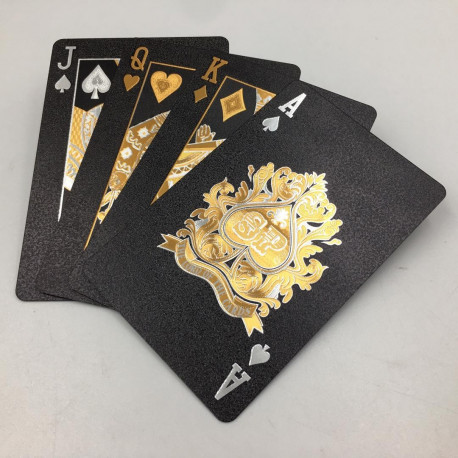 Dal Rossi Italy Luxury Black Playing Cards and Gold & Silver Plated writing