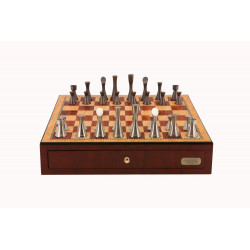 """Dal Rossi Chess, Contemporary Chess Set with drawers 18"""" (Red Mahogany Finish) with Contemporary Pewter Chess Pieces"""