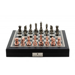 """Dal Rossi Italy Black PU Leather Bevelled Edge chess box with compartments 18"""" with Diamond-Cut Copper & Bronze Finish Chessmen"""