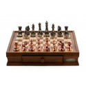 """Dal Rossi Chess Set with Diamond-Cut Copper & Bronze 85mm chessmen on a Walnut Finish Chess Box 16"""" with drawers"""