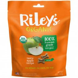 Riley's Organics, Dog Treats, Small Bone, Tasty Apple Recipe, 5 oz (142 g)