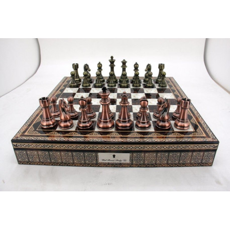 """Dal Rossi Italy Copper / Bronze Chess Set on Mosaic Finish Chess Box 20"""" with Compartments"""