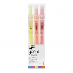 Yoobi Retractable Highlighters, 3PK - ASSORTED COLOURS