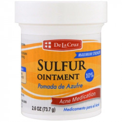 De La Cruz, Sulfur Ointment, Acne Medication, Maximum Strength, 2.6 oz (73.7 g)