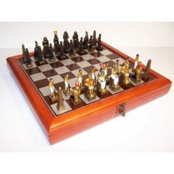 Hand Paint Chess Set - EgyptianTheme with 75mm pieces, 45cm Chess Set Board + Storage Box