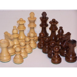 Chess Pieces - French lardy, Boxwood/Sheesham95mm Wood Double Weighted