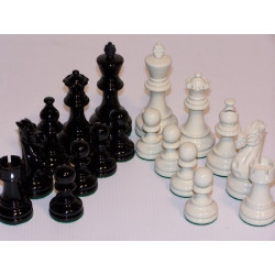 Chess Pieces - French lardy, Boxwood Black & White 85mm Wood Double Weighted