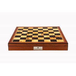 """Dal Rossi Italy Chess Box Walnut Finish Chess Box 16"""" with Compartments"""