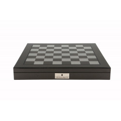 """Dal Rossi Italy Carbon Fibre Shiny Finish Chess Box 16"""" with Compartments"""