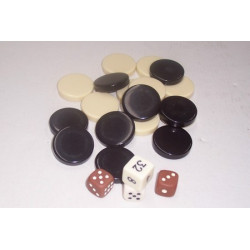 Backgammon - Backgammon Pieces/Dice, Brown/Ivory, 32mm - Dice NOT included