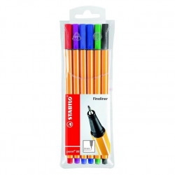 STABILO 0213530 POINT 88 FINELINER ASSORTED COLOURS WALLET OF 6