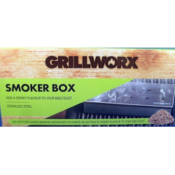 GRILLWORX Stainless Steel BBQ Smoking Box (Hinged Woodchips Holder) Smokey Aroma