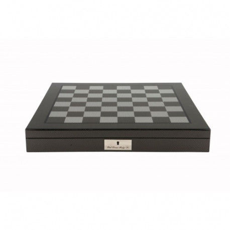 """Dal Rossi Italy Dark Red and Box wood Finish Chess Set on Carbon Fibre Shiny Finish Chess Box 20"""" with compartments"""