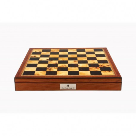 """Dal Rossi Metal / Marble Finish Chess set Walnut Finish Chess Box 16"""" with compartments"""
