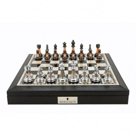 """Dal Rossi 16"""" Chess Set Black Finish Chess Set with PU Leather Edge with compartments and Metal / Marble Finish Chess Pieces"""