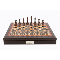 """Dal Rossi Italy Brown PU Leather Bevelled Edge chess box with compartments 18"""" with Contemporary Metal Chessmen"""