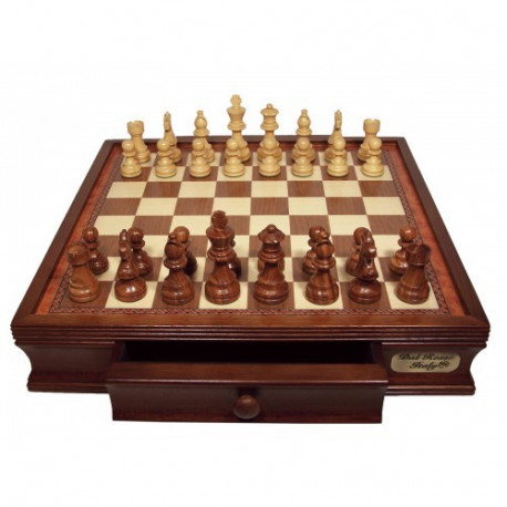 """Dal Rossi Chess Set 16"""", With Boxwood/Sheeham 85mm pieces Wood Double Weighted"""""""